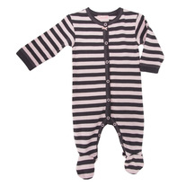 Coccoli Striped Footie Pajamas- Pink