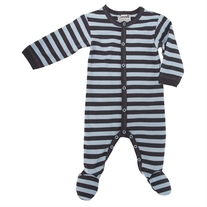 Coccoli Striped Footie pajamas- Blue