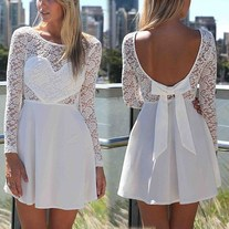 Ice love lace bow skater dress