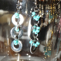 Teal Washer Earrings