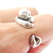 Realistic Sloth Animal Wrap Around Hug Ring In Solid 925 Sterling Silver - US Sizes 4 To 8.5