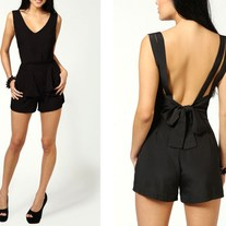 bow accent low back romper