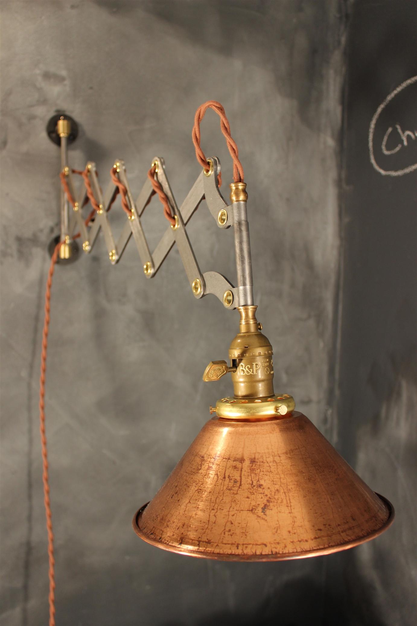 Vintage Industrial Scissor Sconce Expandable Accordion