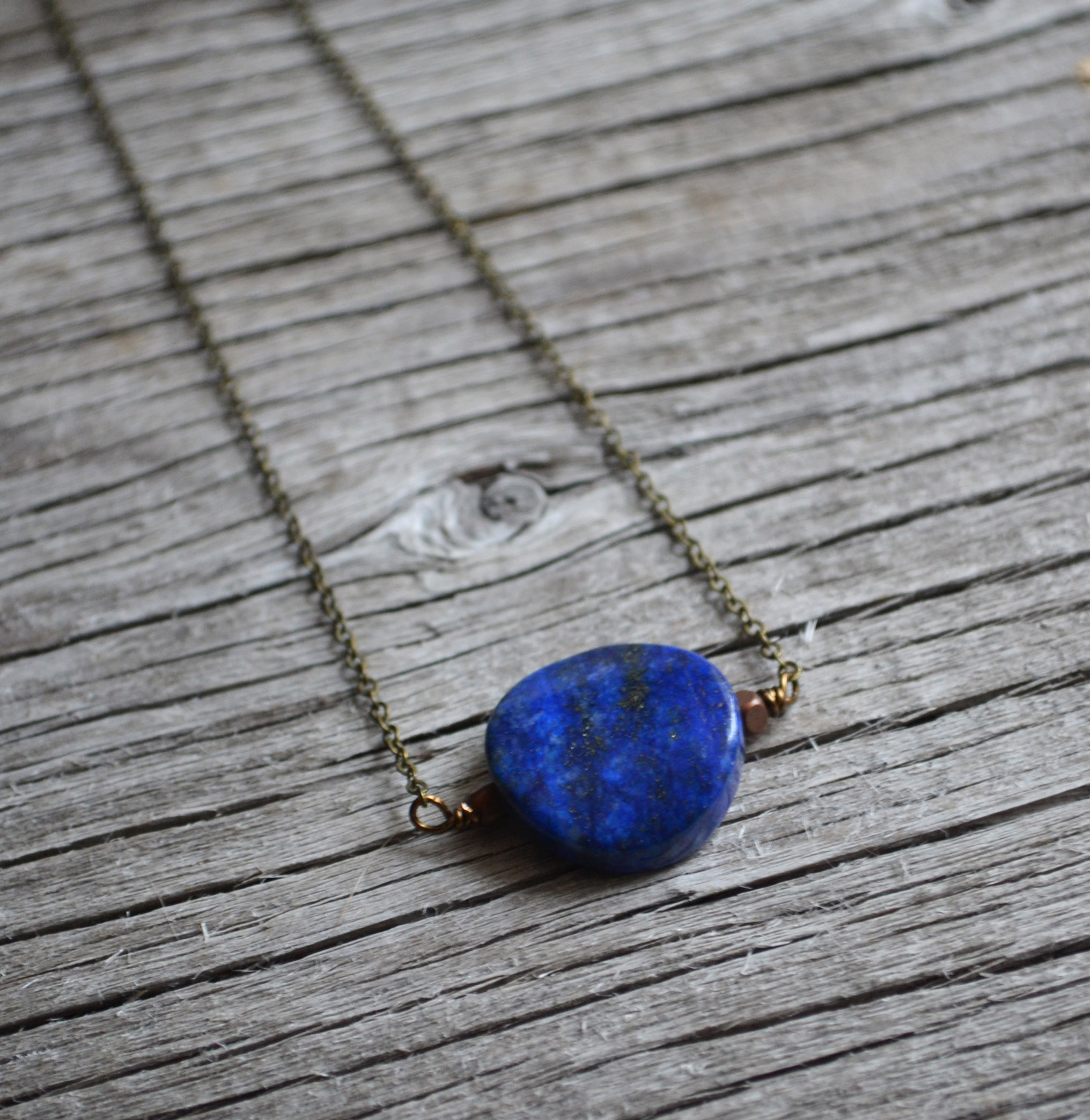 wire sterling silver wrapped lapis lazuli necklace pin pendant