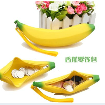 Silicone banana candy colored jelly bag purse coin bag