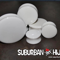 "White Acrylic Saddle Plug (1""+)"
