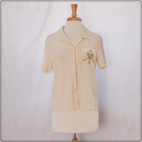 Vintage Cream Silk Button Down Shirt