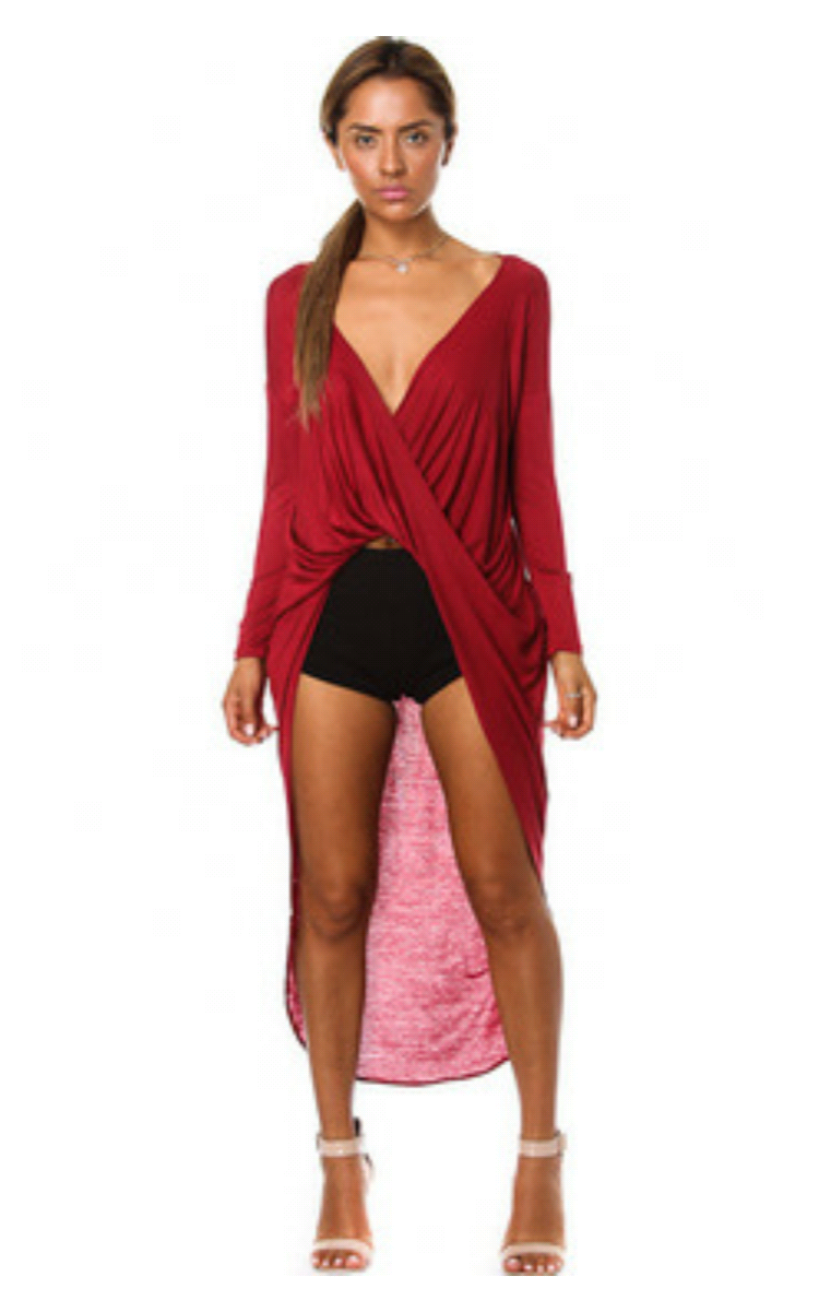 Sexy twisted drape high low top 183 liz boutique 183 online store