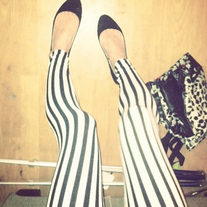 Cotton Black & White Vertical Striped Leggings Skinny Tights