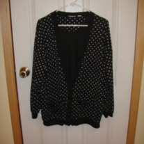 Black Cardigan with White Polka Dots