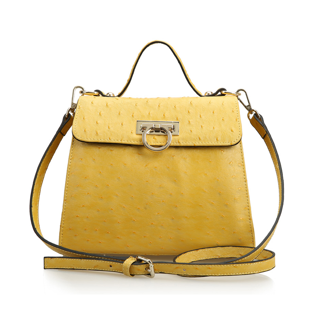988491703f8b Leather Mini Flapover Structured Crossbody Bag Satchel with Short Top  Handle-Yellow