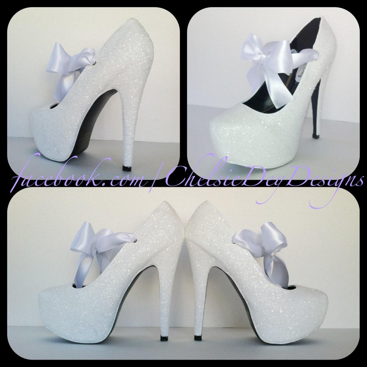 White Glitter High Heels, Wedding Platform Pumps, Sparkly Shoes with ...