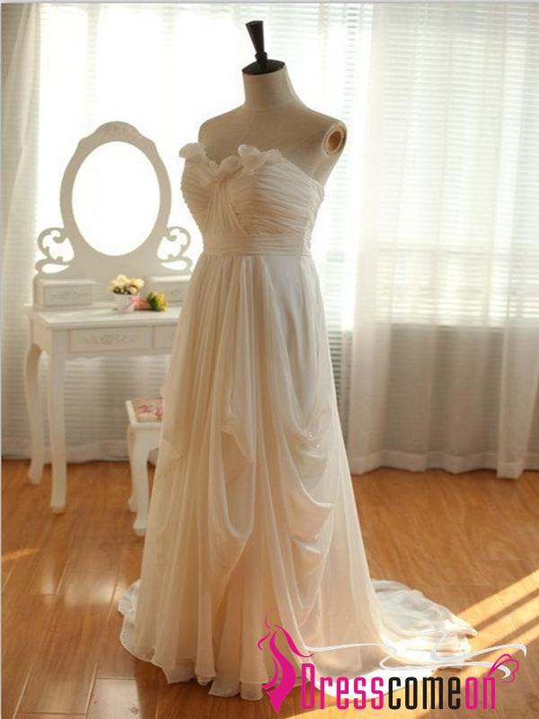Cheap high low wedding dress custom ivory chiffon beach for High low wedding dresses cheap