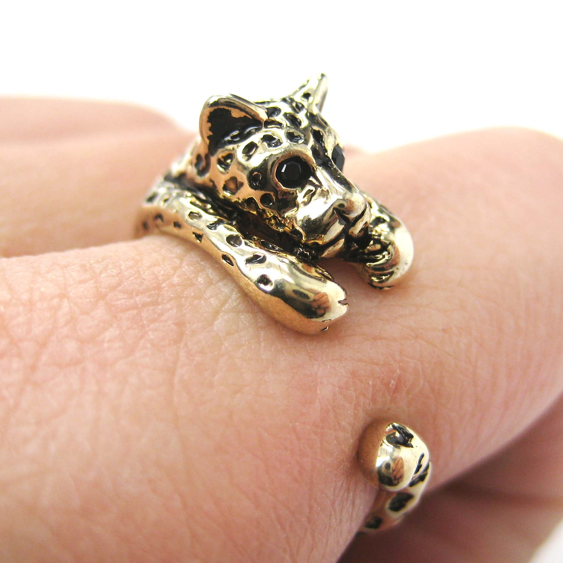 Miniature Leopard Cat Animal Wrap Ring In Shiny Gold