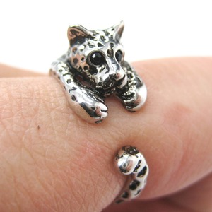 Miniature Leopard Cat Animal Wrap Ring in SHINY Silver - Sizes 4 to 9