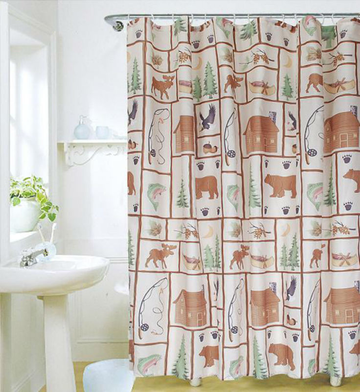 Country Side Animal 180 X 180 Cm Bathroom Use Polyester Shower Curtain Set Hkok Shop