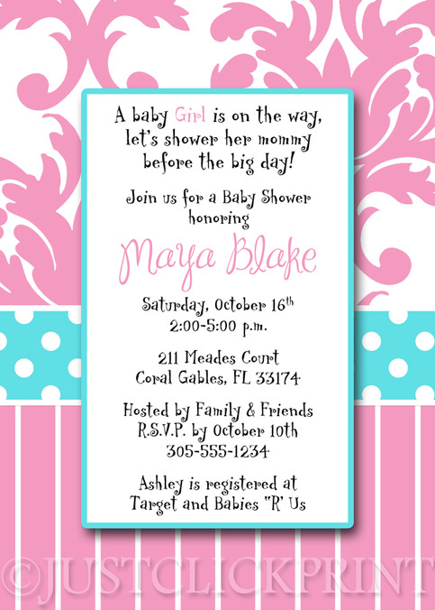 tiffany blue pink damask baby shower invitation pintable just click
