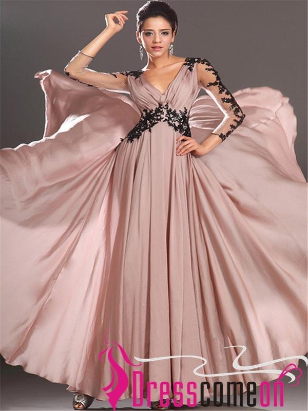 Hot Sales Long Sleeves Black Lace Pink Chiffon V Neck Prom Dress ...