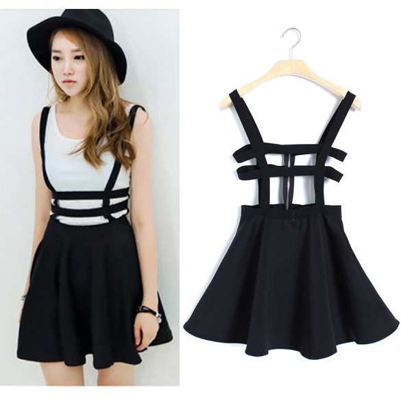NEW COLOURS* Women Suspender Skirt Braces Bandage Mini Skater ...