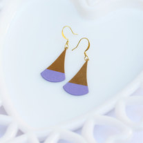 Lavender Color Dipped Flat Brass Dangle Earrings