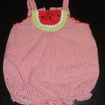 Red/White Gingham Watermelon Romper-Baby OkieDokie Size 0-3 Months