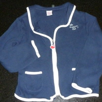Navy Zip Up Sweater Jacket-Says Whale Watching Club-Gymboree Size 7