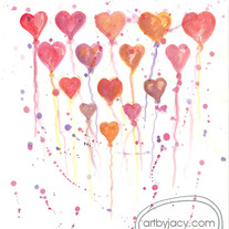 "5x7 Matte Print, ""Hearts Collide"" Valentine Love Watercolor Illustration, Art By Jacy Lee Pulford"