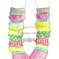 "8x10 Matte Print, ""My Fun Socks"" Ink Watercolor Illustration"