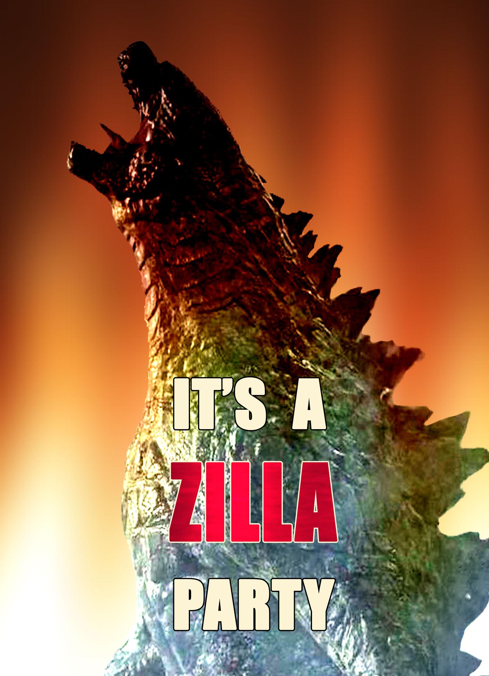 Baby Shower Zilla ~ Zilla personalized birthday invitation sided