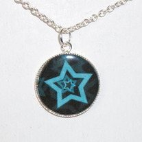 Blue Stars Bezel Pendant Necklace