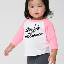Infant 3/4 Sleeve Raglan (White/Neon Heather Pink)