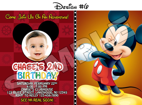 Blitzdesignz mickey mouse clubhouse birthday party photo invitations