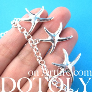 Starfish Star Shaped Sea Animal Charm Chain Linked Bracelet in Silver