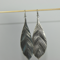 Leaf_metal_plate_hook_earring_medium