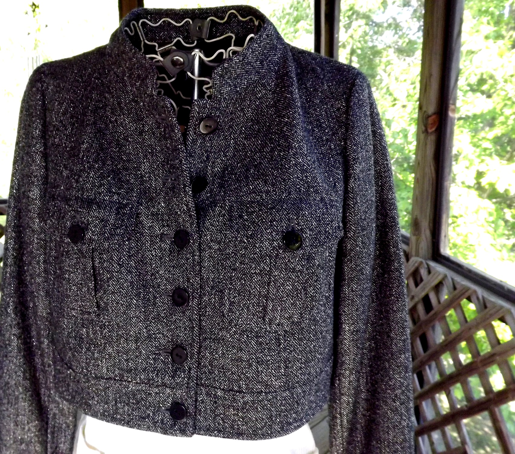 Bolero jacket short tweed coat designer black silver for Designer bolero