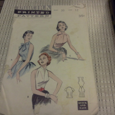 Wow rare find vintage butterick size 12 printed pattern bust 30