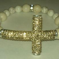 Ivory Coast Gold Bling Cross Bracelet