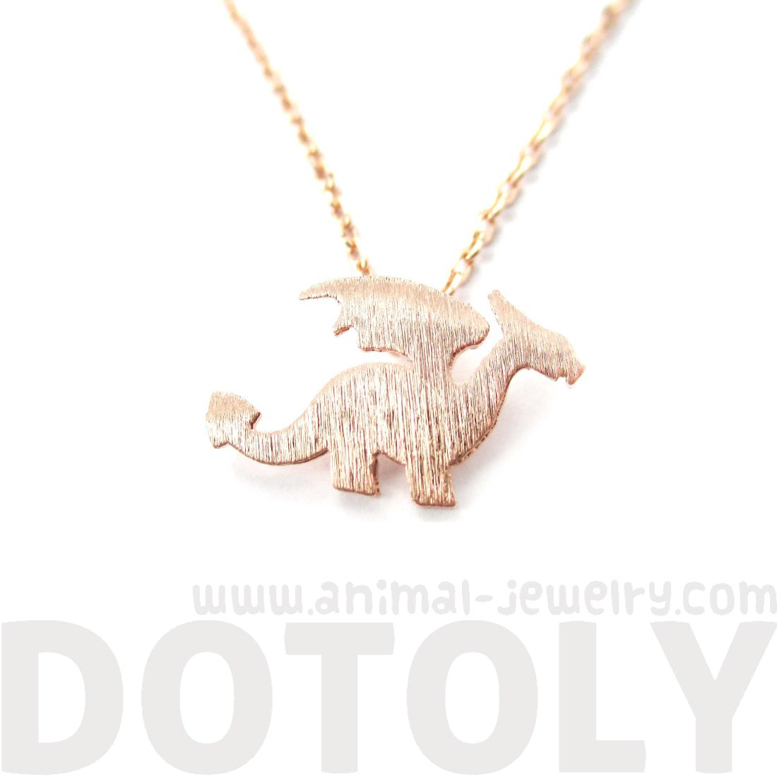 Mythical Creatures Dragon Shaped Silhouette Charm Necklace in Rose ...