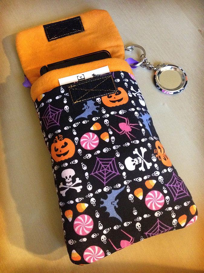 a spooky halloween purselet handmade phone nintendo 3ds xl psp case mini purse pouch