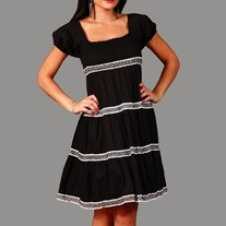 In Sm and Med - Black White Lace Renaissance Empire Waist Puff Sleeve Stretch Dress