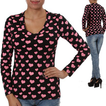 L Black Long Sleeve Punk T-Shirt Pink Puff Heart Print Punk Tee Top