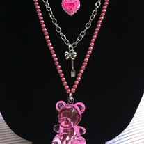 Pink Love Tart Pearl Multi Chain Necklace Tea Party Teddy Bear Pendant