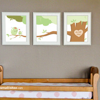 "Small Bites Art: ""Olive You""- 8x10"" Set of 3 Prints- Nursery Art- Made for Foodies"