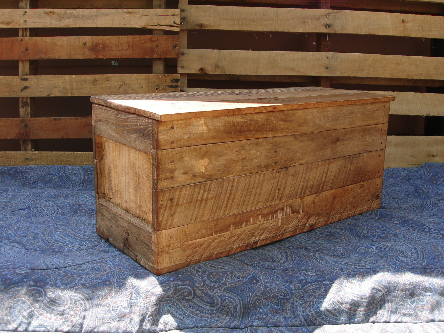 Beau Primitive Wood Box, Storage Chest, Trunk, Wooden Box Style 128