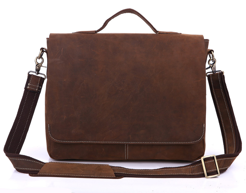 Handmade Vintage Leather Briefcase / Leather Messenger Bag / 13 ...