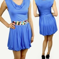 L - blue dress sleeveless cowl neck jersey knit bubble skirt mini sundress