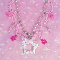 pink white key and star charm necklace with silver & plastic chain & pink glass pearls