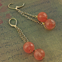 Strawberry Quartz and Goldfill Earrings