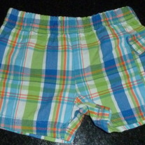 Green/Blue Plaid Shorts-Granimals Size Newborn