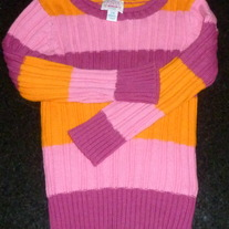 Orange/Pink Stripe Sweater-The Children's Place Size 24 Months